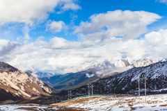 Panorama view of the mountains on the Highland of Sichuan Provin Royalty Free Stock Images