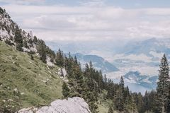 Panorama view of mountains scene from top Pilatus Kulm in Lucerne stock photography