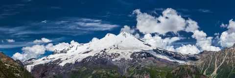 Panorama view of Mt. Elbrus from Cheget slope Stock Photos