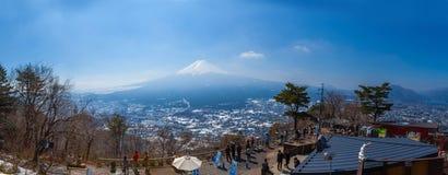 Panorama the view of mt fuji and lake Kawakuchi ko Royalty Free Stock Photo