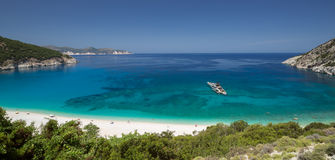Panorama view of Myrtos beach on the island Kefalonia. Stock Photos