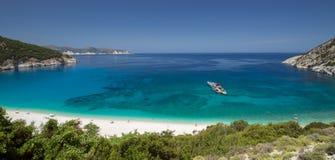 Panorama view of Myrtos beach on the island Kefalonia. Stock Photos
