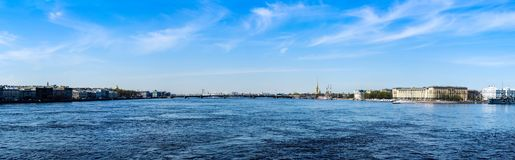 Panorama view of Neva river and embankments of Saint Petersburg. Panoramic banner format. Panorama view of Neva river and embankments of Saint Petersburg in stock images