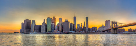 Panorama view of New York City downtown skyline and Brooklyn bri Stock Image