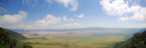 Panorama view of Ngorongoro crater and rim Royalty Free Stock Photos