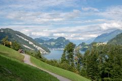 Panorama view od Lucerne lake and mountains scene in Pilatus of Lucerne stock photos