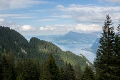 Panorama view od Lucerne lake and mountains scene in Pilatus of Lucerne royalty free stock images