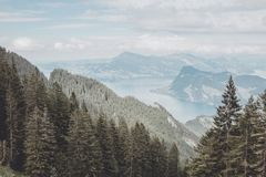 Panorama view od Lucerne lake and mountains scene in Pilatus of Lucerne stock photo