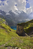 Panorama view of Oeschinensee, Kandersteg. Berner Oberland. Switzerland Stock Photo