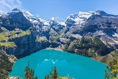 Panorama view of Oeschinensee (Oeschinen lake) on bernese oberla Stock Photography