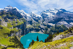 Panorama view of Oeschinensee (Oeschinen lake) on bernese oberla Royalty Free Stock Photo