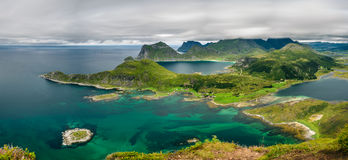 Panorama view from Offersoykammen, Lofoten islands, Norway Royalty Free Stock Image