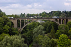 Panorama view of the old bridge in Luxembourg. A panorama view of the old bridge in Luxembourg city Stock Photo