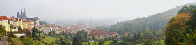 Panorama (view) of Old City in Prague Stock Photos