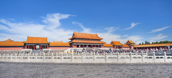 Panorama view on ornate pavilion, Palace Museum, Beijing, China Royalty Free Stock Photography