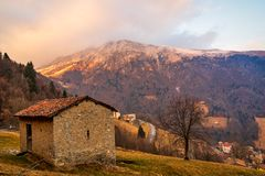 Panorama view of the Orobie Alps at sunset. Beautiful view of the Orobie Alps at sunset,north Alps autumn / winter, the mountain is a little snow-covered ,Oltre stock image
