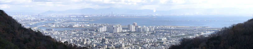 Panorama view of Osaka bay Royalty Free Stock Images