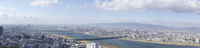 Panorama view of Osaka bay Royalty Free Stock Image