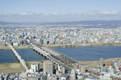Panorama view of Osaka bay. From the surrounding mountains Stock Photo