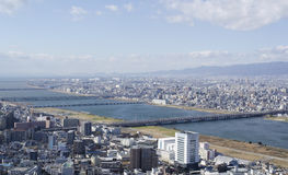 Panorama view of Osaka and Toyonaka. On a sunny day Royalty Free Stock Images