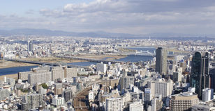 Panorama view of Osaka and Toyonaka. On a sunny day Royalty Free Stock Image