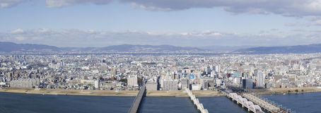 Panorama view of Osaka and Toyonaka. On a sunny day Royalty Free Stock Photos