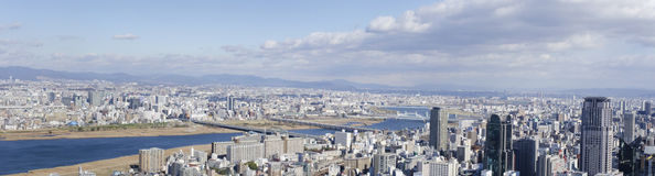 Panorama view of Osaka and Toyonaka. On a sunny day Stock Photography
