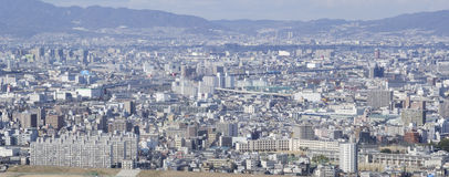 Panorama view of Osaka and Toyonaka. On a sunny day Stock Photos