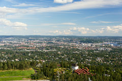 Panorama view of Oslo from Holmenkollen Royalty Free Stock Photography