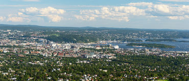 Panorama view of Oslo from Holmenkollen wide Stock Images