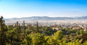 Panorama with view over Athens from the hill Stock Photos