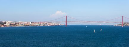 Panorama view over the 25 de Abril Bridge. The bridge is connecting the city of Lisbon to the municipality of Almada. On the left bank of the Tejo river, Lisbon royalty free stock images