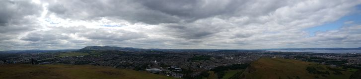 Panorama view over Edinburgh. Panorama view over Holyrood Park a royal park in central Edinburgh, Scotland Stock Photography