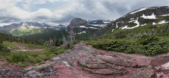 Panorama View Over Grinnell Lake and Glacier Stock Photography