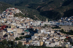 Panorama view over the holy city of Moulay Idriss Zerhoun includ Royalty Free Stock Images