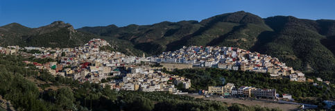 Panorama view over the holy city of Moulay Idriss Zerhoun includ Stock Photography
