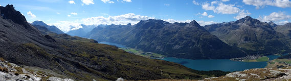 Panorama view over Lake Silvaplana (or Silvaplanersee; Lej da Silvaplauna) in the foreground (Lake Sils is in the background). Lake Silvaplana is a lake in the Stock Photo