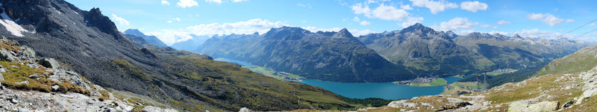 Panorama view over Lake Silvaplana (or Silvaplanersee; Lej da Silvaplauna) in the foreground (Lake Sils is in the background). Lake Silvaplana is a lake in the Royalty Free Stock Images