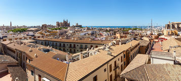Panorama View of Palma de Mallorca. Wiew of Palma de Mallorca from the roof of one of the houses of the seaside town. In the distance you can see the Cathedral Royalty Free Stock Photo