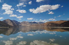 Panorama view of Pangong Tso in Ladakh,India Stock Photography