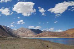 Panorama view of Pangong Tso in Ladakh,India Royalty Free Stock Image