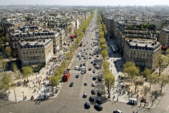 Panorama View of Paris, Champs-Élysées. From Arc de Triomphe royalty free stock images