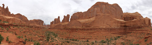 Panorama View of Park Avenue, Arches National Park Stock Photo