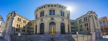 Panorama view of Parliament of Norway Stortinget in Oslo, Norway Royalty Free Stock Photos