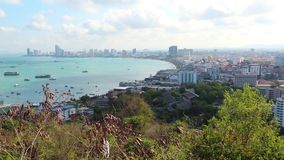 Panorama view of Pattaya city and Gulf of Siam, Thailand stock video