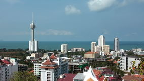 Panorama view of Pattaya city and Gulf of Siam, Thailand Royalty Free Stock Images