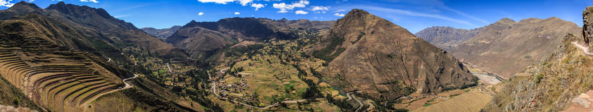Panorama View of the Pisac Valley, from the Inca Ruins in Peru Royalty Free Stock Photos