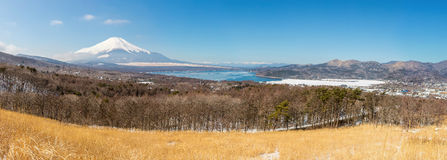 Panorama view point Fujisan Yamanaka Lake Stock Photography