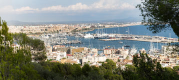 Panorama View of the port with yachts Stock Photography