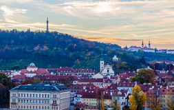 Panorama view of the prague castle and left bank of the vltava / moldau river taken from the vysehrad castle Royalty Free Stock Photography
